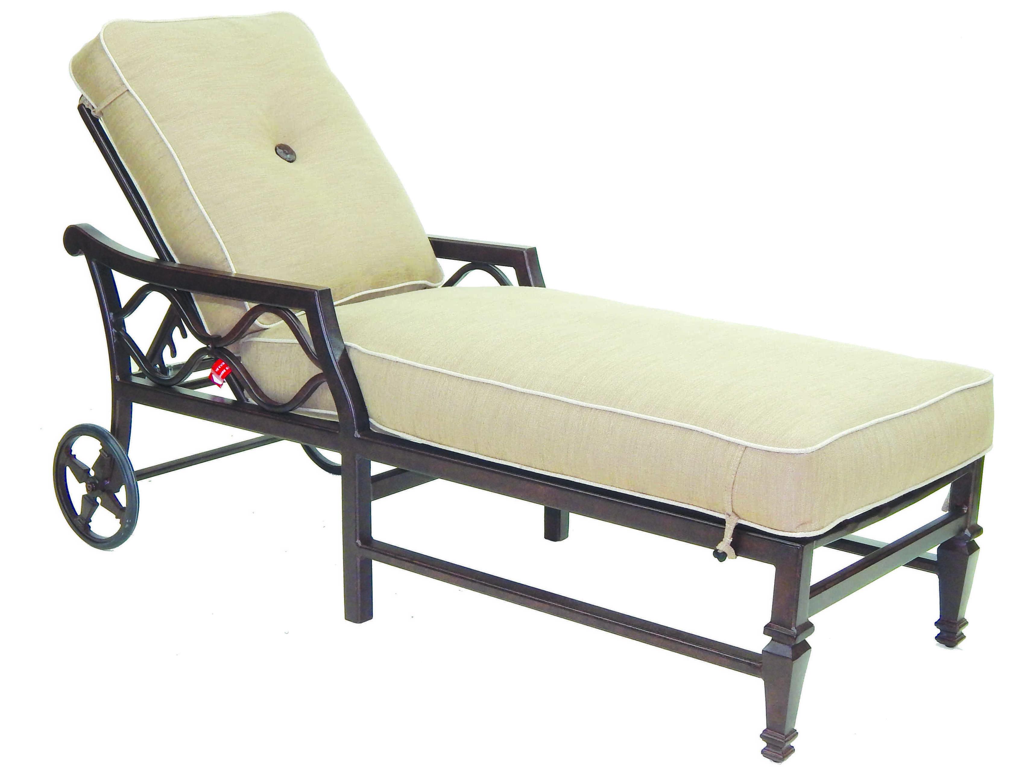 Castelle villa bianca cushion cast aluminum adjustable for Cast aluminum chaise lounge with wheels