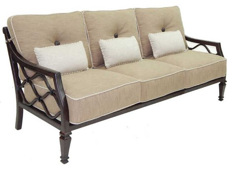 Castelle Villa Bianca Deep Seating Cast Aluminum Sofa with Three Kidney Pillows PatioLiving