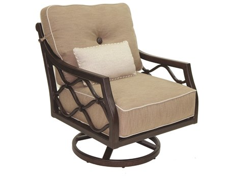 Castelle Villa Bianca Deep Seating Cast Aluminum Lounge Swivel Rocker with One Kidney Pillow