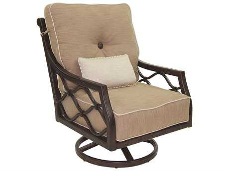 Castelle Villa Bianca High Back Cushion Cast Aluminum Lounge Swivel Rocker with One Kidney Pillow