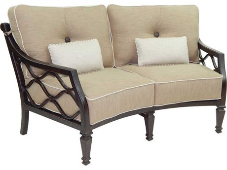Castelle Villa Bianca Deep Seating Cast Aluminum Crescent Loveseat with Two Kidney Pillows
