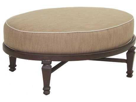 Castelle Villa Bianca Cushion Cast Aluminum Oval Ottoman
