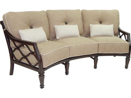 Castelle Villa Bianca Deep Seating Cast Aluminum Crescent Sofa with Three Kidney Pillows