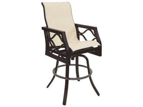 Castelle Villa Bianca Sling Cast Aluminum High Back Swivel Bar Stool