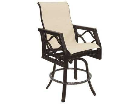 Castelle Villa Bianca Sling Cast Aluminum High Back Swivel Counter Stool
