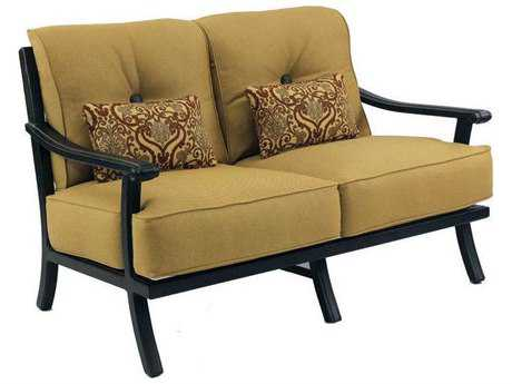 Castelle Chateau Cushion Cast Aluminum Loveseat with Two Kidney Pillows