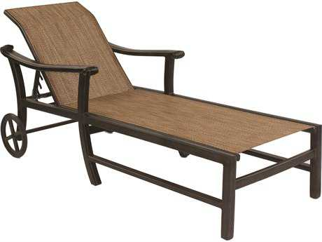 Castelle Chateau Sling Cast Aluminum Adjustable Chaise Lounge with Wheels