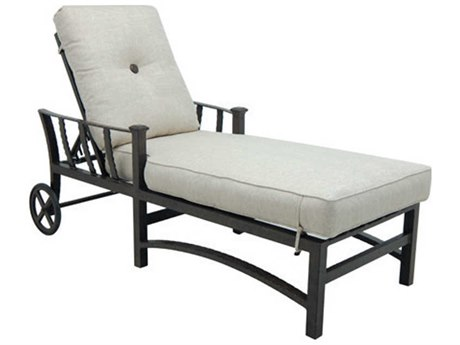 Castelle Santa Fe Cushion Cast Aluminum Adjustable Chaise Lounge with Wheels