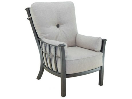 Castelle Santa Fe Deep Seating Cast Aluminum Ultra High Back Lounge Chair with Two Side Pillows