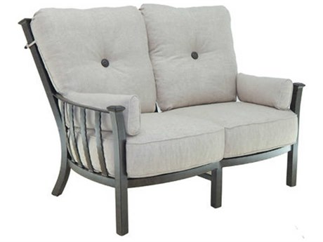 Castelle Santa Fe Deep Seating Cast Aluminum Ultra High Back Lounge Loveseat with Two Side Pillows