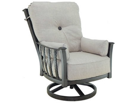 Castelle Santa Fe Deep Seating Cast Aluminum Ultra High Back Lounge Swivel Rocker with Two Side Pillows