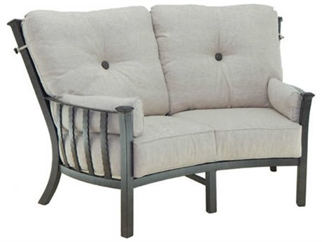 Castelle Santa Fe Deep Seating Cast Aluminum Ultra High Back Crescent Loveseat withTwo Side Pillows