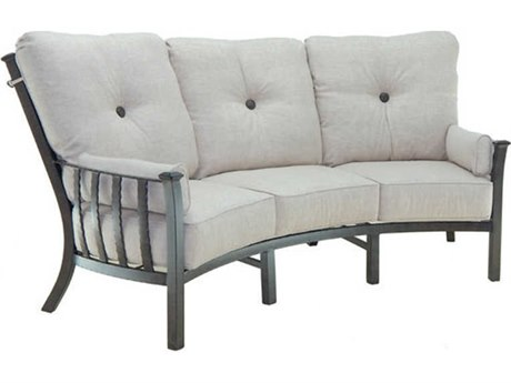 Castelle Santa Fe Deep Seating Cast Aluminum Ultra High Back Crescent Sofa with Two Side Pillows