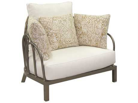 Castelle Argento Deep Seating Cast Aluminum Cushioned Cuddle Chair with 3 Throw Pillows