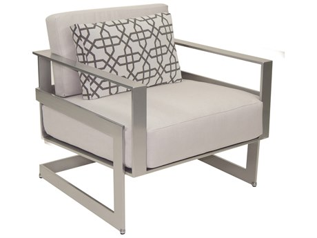 Castelle Eclipse Deep Seating Cast Aluminum Cushion Lounge Chair with One Pillow
