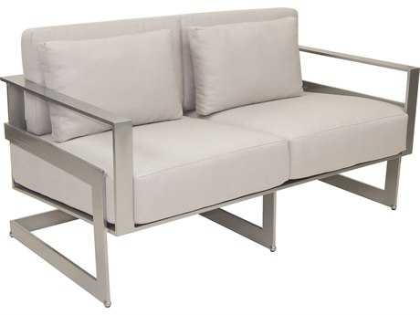 Castelle Eclipse Deep Seating Cast Aluminum Cushion Loveseat with Two Pillows