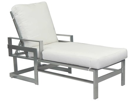 Castelle Eclipse Cushion Dining Cast Aluminum Adjustable  Chaise Lounge with Wheels