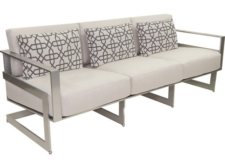 Castelle Eclipse Deep Seating Cast Aluminum Cushion Sofa with Three Pillows PF1714R