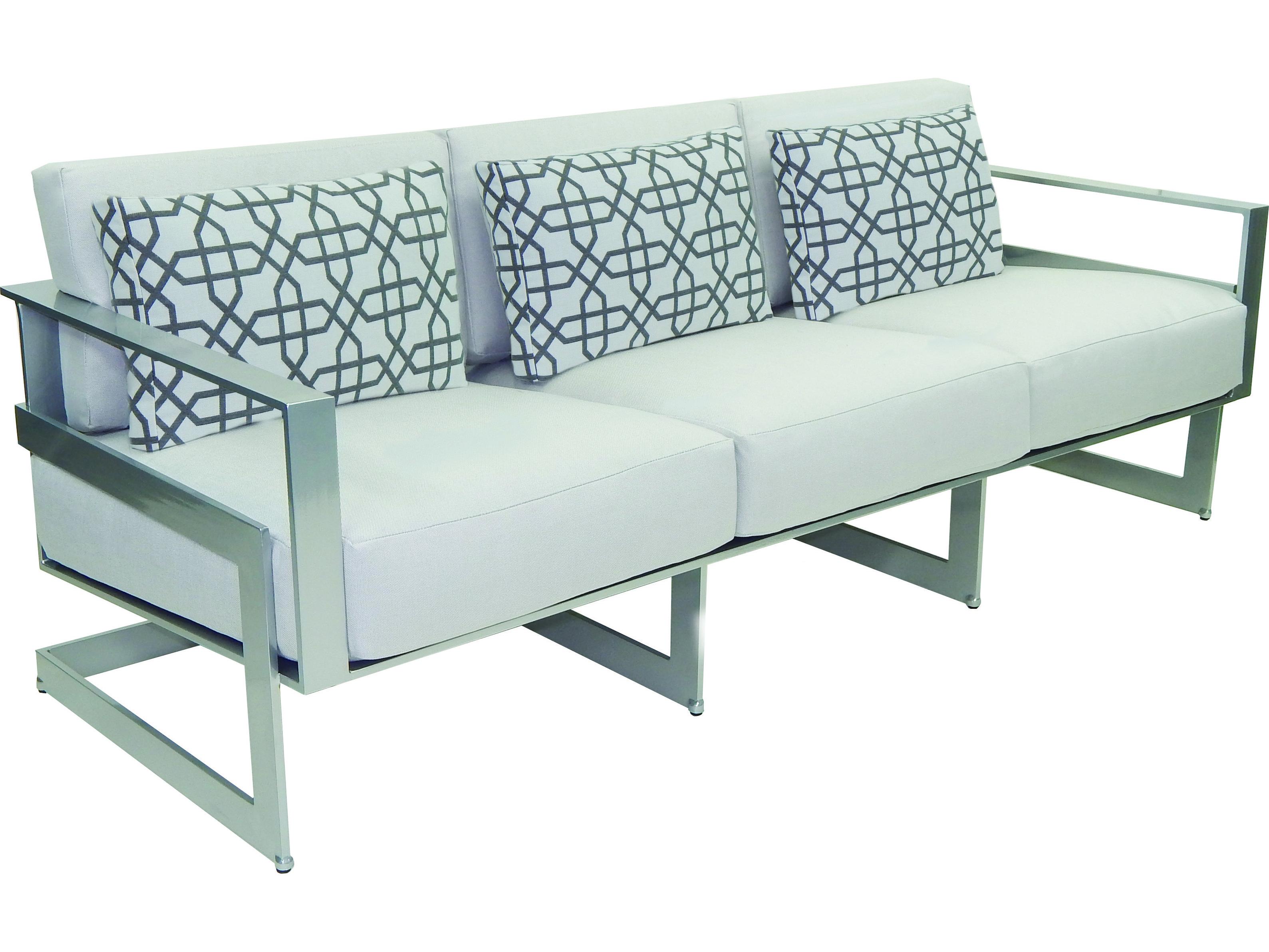 Castelle Eclipse Deep Seating Cast Aluminum Cushion Sofa with Three ...