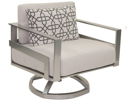 Castelle Eclipse Deep Seating Cast Aluminum Cushion Lounge Swivel Rocker with One Pillow