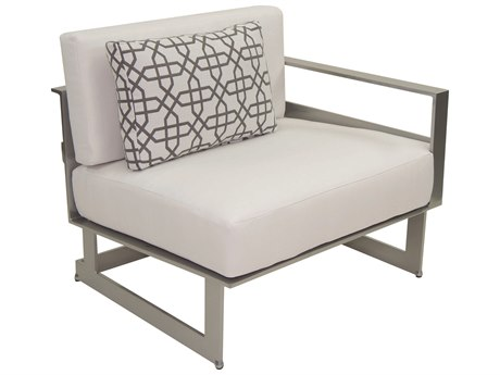 Castelle Eclipse Sectional Cast Aluminum Left Arm Lounge Unit with One Pillow