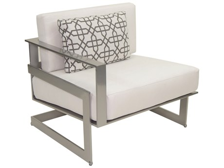 Castelle Eclipse Sectional Cast Aluminum Right Arm Lounge Unit with One Pillow