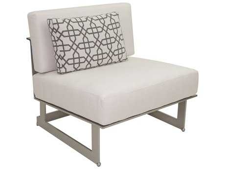 Castelle Eclipse Sectional Cast Aluminum Armless Lounge Unit with One Pillow