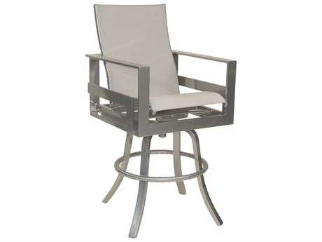 Castelle Eclipse Sling Cast Aluminum High Back Swivel Bar Stool