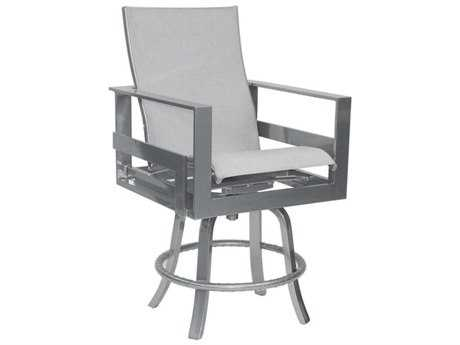 Castelle Eclipse Sling Cast Aluminum High Back Swivel Counter Stool