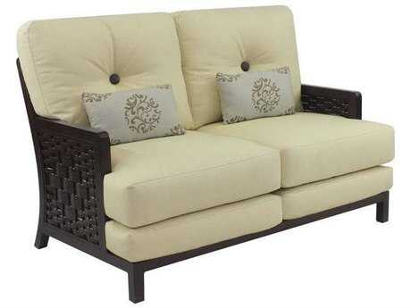 Castelle Spanish Bay Cushion Cast Aluminum Loveseat with Two Kidney Pillows