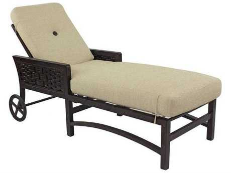 Castelle Spanish Bay Cushion Cast Aluminum Adjustable Chaise Lounge with Wheels