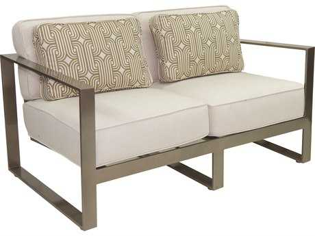 Castelle Park Place Deep Seating Cushion Cast Aluminum Loveseat with Two Pillows