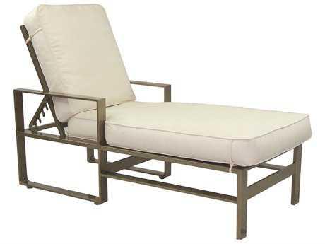 Castelle Park Place Cushion Cast Aluminum Adjustable Chaise Lounge with Wheels