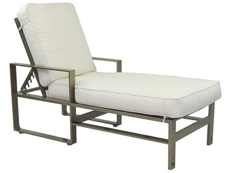 Castelle Park Place Cushion Cast Aluminum Adjustable Chaise Lounge with Wheels