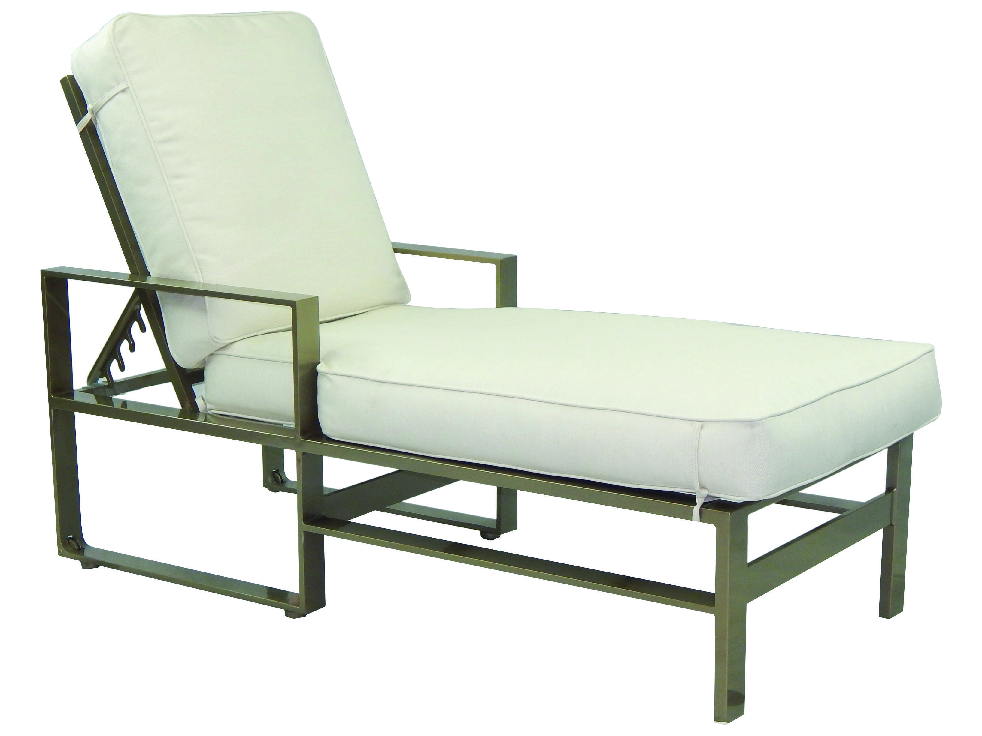 Castelle park place cushion cast aluminum adjustable for Aluminum chaise lounge with wheels