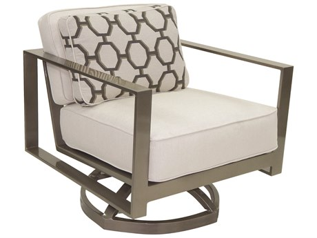 Castelle Park Place Deep Seating Cushion Cast Aluminum Lounge Swivel Rocker with One Pillow