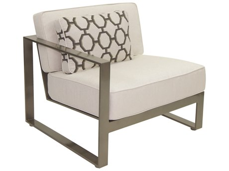 Castelle Park Place Sectional Cast Aluminum Right Arm Lounge Unit with One Pillow PatioLiving