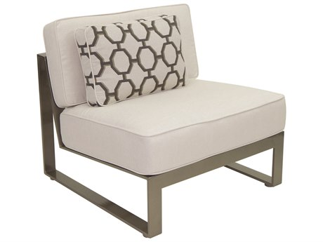 Castelle Park Place Sectional Cast Aluminum Armless Lounge Unit with One Pillow
