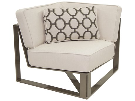 Castelle Park Place Sectional Cast Aluminum Square Corner Unit with One Pillow