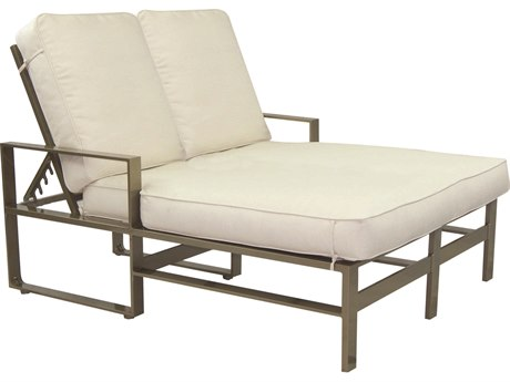 Castelle Park Place Cushion Cast Aluminum Adjustable Double Chaise Lounge PatioLiving