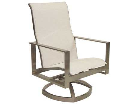 Castelle Park Place Sling Cast Aluminum Lounge Swivel Rocker