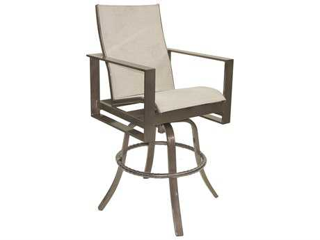 Castelle Park Place Sling Cast Aluminum High Back Swivel Bar Stool