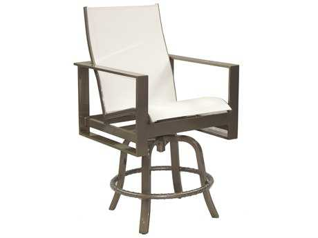 Castelle Park Place Sling Cast Aluminum High Back Swivel Counter Stool