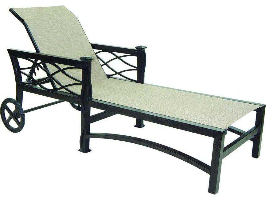 Castelle la reserve sling cast aluminum adjustable chaise for Aluminum chaise lounge with wheels