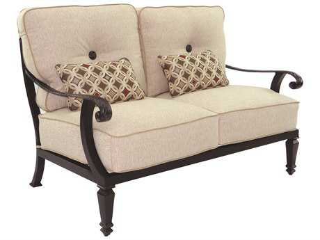 Castelle Bellagio Cushion Cast Aluminum Loveseat with Two Kidney Pillows
