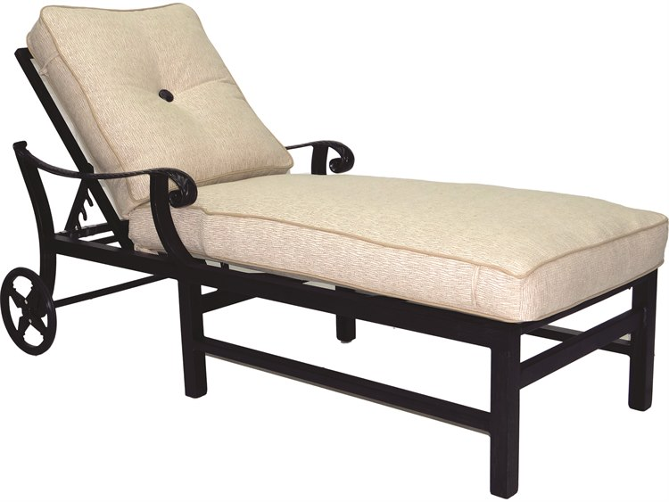 Castelle bellagio cushion cast aluminum adjuatable chaise for Aluminum chaise lounge with wheels