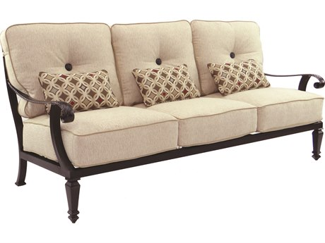 Castelle Bellagio Deep Seating Cast Aluminum Sofa with Three Kidney Pillows