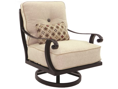 Castelle Bellagio Deep Seating Cast Aluminum Lounge Swivel Rocker with One Kidney Pillow