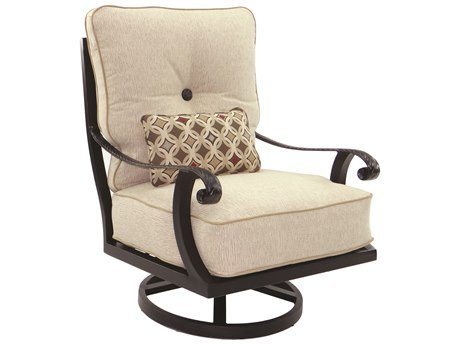 Castelle Bellagio Deep Seating Cast Aluminum High Back Lounge Swivel Rocker with One Kidney Pillow