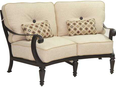 Castelle Bellagio Cushion Cast Aluminum Crescent Loveseat with Two Kidney Pillows